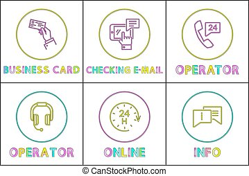 Support Service Color Icon Set in Thing Line Style