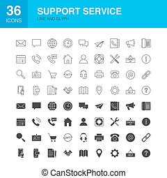 Support Service Line Web Glyph Icons