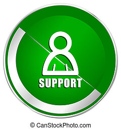 Support silver metallic border green web icon for mobile apps and internet.