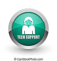 Support silver metallic chrome web design green round internet icon with shadow on white background.
