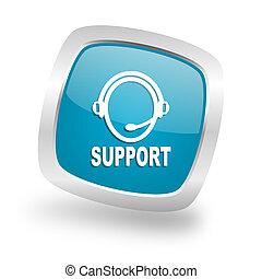 support square blue glossy chrome silver metallic web icon