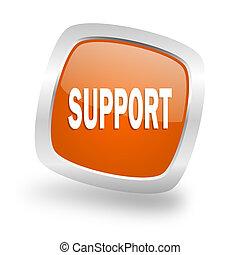 support square orange glossy chrome silver metallic web icon