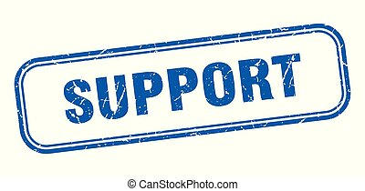 support stamp. support square grunge sign. support