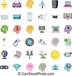 Support thing icons set, cartoon style