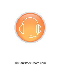 support vector icon. headset. orange button.