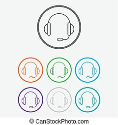 support vector icon. headset. Round buttons with frame. Vector