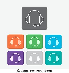 support vector icon. headset. Round squares buttons. Vector