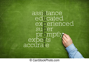 Support word cloud concept on blackboard