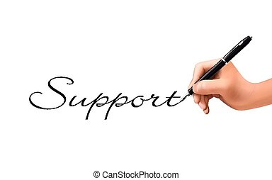 support word written by 3d hand