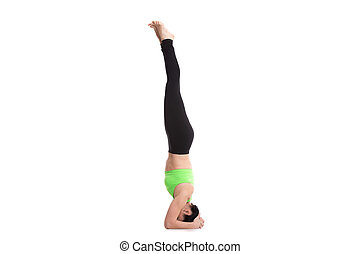 supported headstand posture cool attractive young fit
