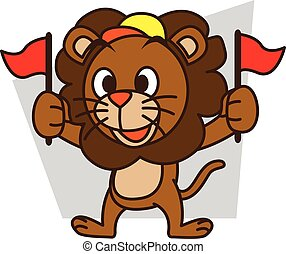 Supporter lion vector