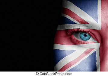 Supporter of United Kingdom - A young female with the flag...