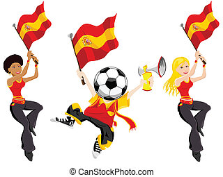 supporters., fußball, spanien