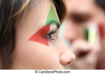 Supporting Italian soccer team