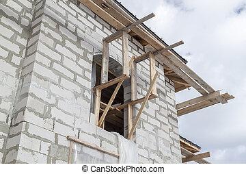 supports, eau, vue, système, construction, haut, toit, ...