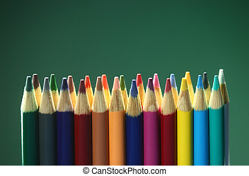 suppplies, crayons, école, coloré, dos