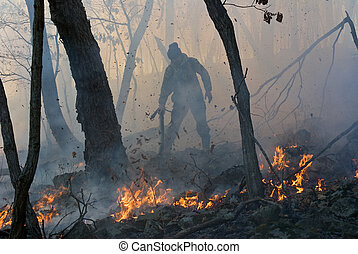 Suppression of forest fire by the inspector of protection of the state natural reserve Lazovsky. Russian Far East, Primorye.