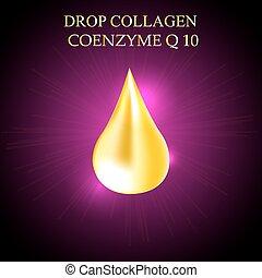 suprême, goutte, prime, or, collagène, essence., illustration, enzyme, vecteur, droplet., co, huile, sérum, briller