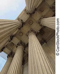 suprême, uni, tribunal, washington dc, etats, colonnes
