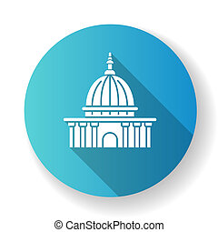 Supreme court blue flat design long shadow glyph icon. Highest judicial institution. Government agency. Courthouse. Administrative office. Law enforcement. Silhouette RGB color illustration