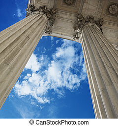 Supreme Court building. - Low angle view looking up at blue...
