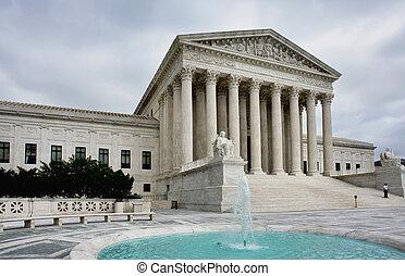 Supreme Court building in Washington DC. Equal Justice Under Law.
