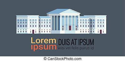 supreme court building with columns government house of justice exterior architecture design courthouse front view horizontal flat gray background copy space