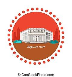 Supreme Court Concept Icon Flat Design