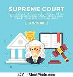Supreme court concept. Modern icons and colorful graphic objects for web banners, websites, printed materials. Flat design vector illustration