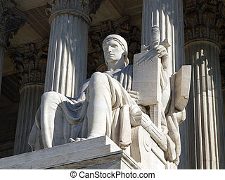 "Historic United States Supreme Court Building Statue, entitled ""Authority of Law""."