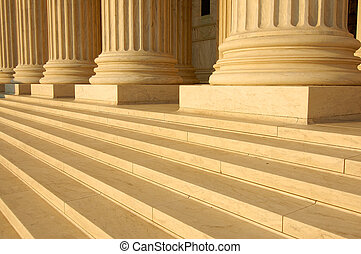 Supreme Court Steps - Steps and columns on the portico of...