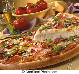 Supreme Pizza - Pizza with pepperoni, peppers, onions and...