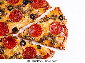 supremo, carne, alimento, cortado, quente fresco, branca, pedaço, pizza