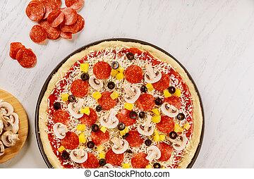 supremo, caseiro, pepperoni., cru, pizza