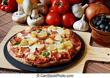 supremo, prosciutto, sparato, legno, ananas, pizza