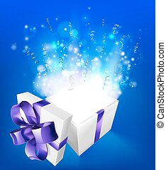 Suprise magical gift - A glowing magical gift box concept ...