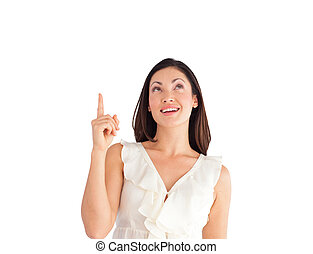 Suprised Young Beautiful Business woman pointing upwards -...