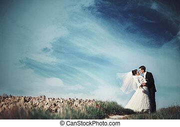 sur, écarts, champ ciel, abrutissant, magnifique, baisers, noce couple, vide