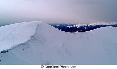 sur, éclairé, soleil, soir, neigeux, vol, montagnes