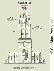 sur, église, newcastle, cathédrale, uk., tyne, repère, nicolas, icône, rue