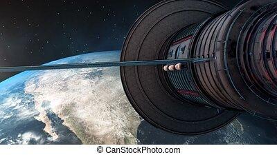 sur, 4k, nord, orbites, amérique, satelite