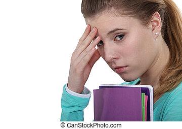 sur, accentué, examens, étudiant, inquiété