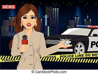sur, accident, surveiller voiture, rapports, journaliste, femme, devant, nouvelles