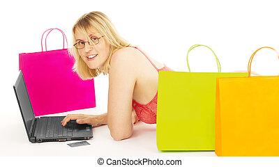 sur, achats femme, séduisant, internet