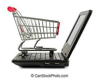 sur, achats, ordinateur portable, charrette