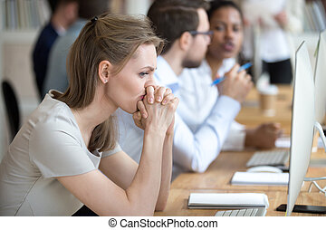 sur, affaires femme, moments, doutes, employé, problème, avoir