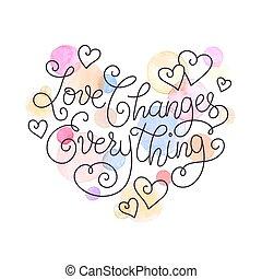 sur, amour, inspirer, lettrage