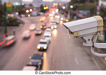 sur, appareil-photo cctv, opération, sécurité, route