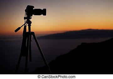 sur, appareil photo, coucher soleil, fond, numérique