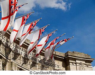 sur, arch., drapeaux, britannique, amirauté